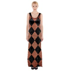 Square2 Black Marble & Copper Brushed Metal Maxi Thigh Split Dress by trendistuff