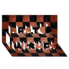 Square1 Black Marble & Copper Brushed Metal Best Wish 3d Greeting Card (8x4) by trendistuff