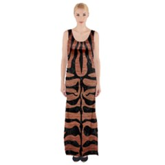 Skin2 Black Marble & Copper Brushed Metal (r) Maxi Thigh Split Dress by trendistuff
