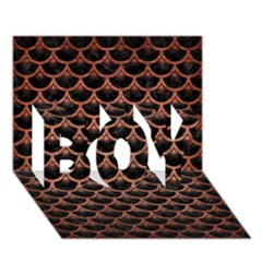 Scales3 Black Marble & Copper Brushed Metal Boy 3d Greeting Card (7x5) by trendistuff