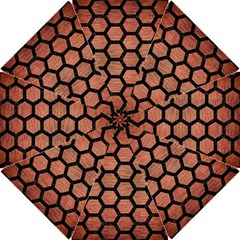 Hexagon2 Black Marble & Copper Brushed Metal (r) Hook Handle Umbrella (small) by trendistuff
