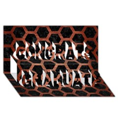 Hexagon2 Black Marble & Copper Brushed Metal Congrats Graduate 3d Greeting Card (8x4) by trendistuff