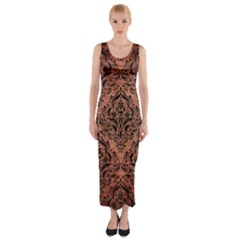 DMS1 BK MARBLE COPPER (R) Fitted Maxi Dress by trendistuff