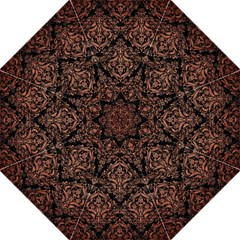 Damask1 Black Marble & Copper Brushed Metal Folding Umbrella by trendistuff