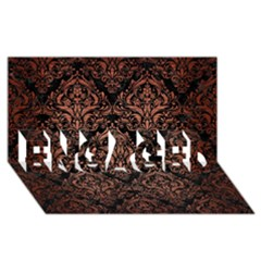 Damask1 Black Marble & Copper Brushed Metal Engaged 3d Greeting Card (8x4) by trendistuff