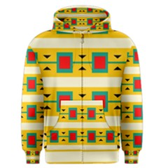 Connected Squares And Triangles Men s Zipper Hoodie by LalyLauraFLM
