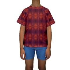 Brown Diamonds Pattern Kid s Short Sleeve Swimwear by Costasonlineshop