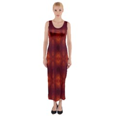 Brown Diamonds Pattern Fitted Maxi Dress by Costasonlineshop