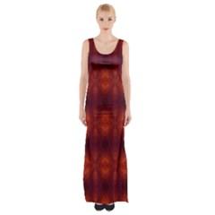 Brown Diamonds Pattern Maxi Thigh Split Dress by Costasonlineshop