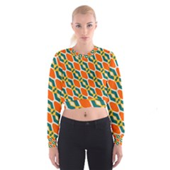 Chains And Squares Pattern   Women s Cropped Sweatshirt by LalyLauraFLM