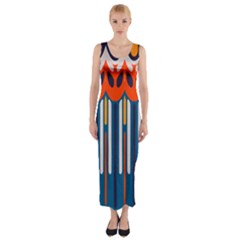 Textured Shapes In Retro Colors    Fitted Maxi Dress by LalyLauraFLM
