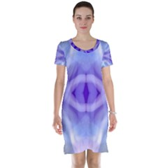 Beautiful Blue Purple Pastel Pattern, Short Sleeve Nightdress by Costasonlineshop