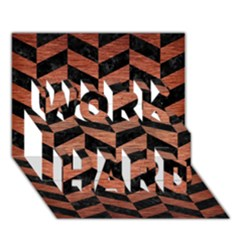 Chevron1 Black Marble & Copper Brushed Metal Work Hard 3d Greeting Card (7x5) by trendistuff