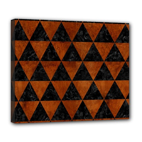 Triangle3 Black Marble & Brown Burl Wood Deluxe Canvas 24  X 20  (stretched) by trendistuff