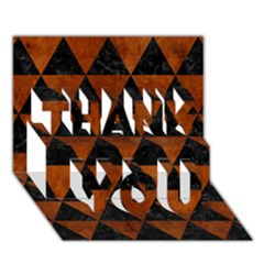 Triangle3 Black Marble & Brown Burl Wood Thank You 3d Greeting Card (7x5) by trendistuff