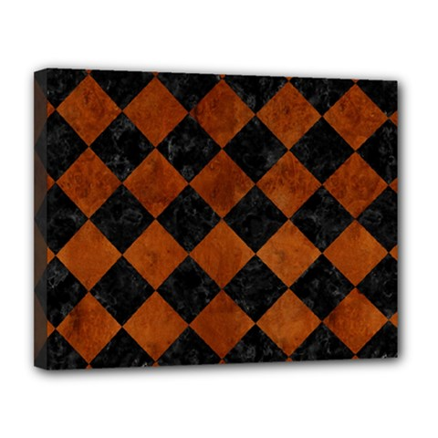Square2 Black Marble & Brown Burl Wood Canvas 14  X 11  (stretched) by trendistuff