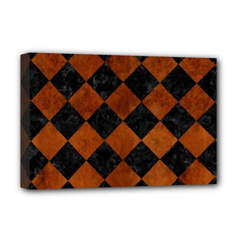 Square2 Black Marble & Brown Burl Wood Deluxe Canvas 18  X 12  (stretched) by trendistuff