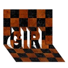 Square1 Black Marble & Brown Burl Wood Girl 3d Greeting Card (7x5) by trendistuff