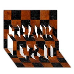 Square1 Black Marble & Brown Burl Wood Thank You 3d Greeting Card (7x5) by trendistuff