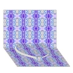 Light Blue Purple White Girly Pattern Heart Bottom 3d Greeting Card (7x5)  by Costasonlineshop