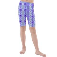 Light Blue Purple White Girly Pattern Kid s Mid Length Swim Shorts by Costasonlineshop