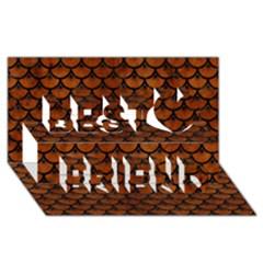 Scales3 Black Marble & Brown Burl Wood (r) Best Friends 3d Greeting Card (8x4) by trendistuff