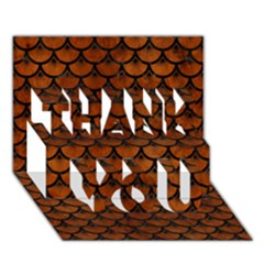 Scales3 Black Marble & Brown Burl Wood (r) Thank You 3d Greeting Card (7x5) by trendistuff