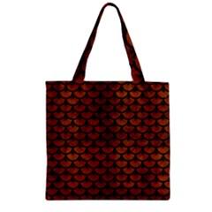 Scales3 Black Marble & Brown Burl Wood (r) Zipper Grocery Tote Bag by trendistuff