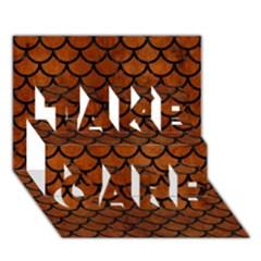 Scales1 Black Marble & Brown Burl Wood (r) Take Care 3d Greeting Card (7x5) by trendistuff