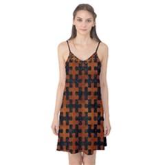 Puzzle1 Black Marble & Brown Burl Wood Camis Nightgown  by trendistuff