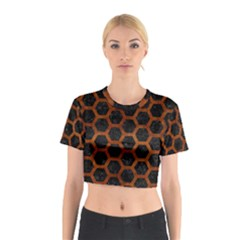 HXG2 BK MARBLE BURL Cotton Crop Top by trendistuff