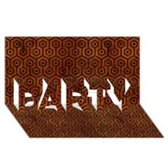 Hexagon1 Black Marble & Brown Burl Wood (r) Party 3d Greeting Card (8x4) by trendistuff
