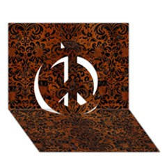 Damask2 Black Marble & Brown Burl Wood (r) Peace Sign 3d Greeting Card (7x5) by trendistuff