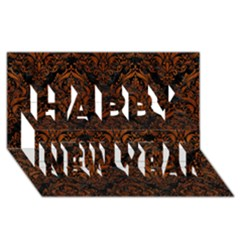 Damask1 Black Marble & Brown Burl Wood Happy New Year 3d Greeting Card (8x4) by trendistuff