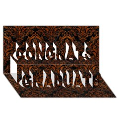 Damask1 Black Marble & Brown Burl Wood Congrats Graduate 3d Greeting Card (8x4) by trendistuff