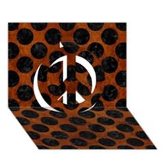 Circles2 Black Marble & Brown Burl Wood (r) Peace Sign 3d Greeting Card (7x5) by trendistuff
