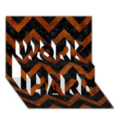 Chevron9 Black Marble & Brown Burl Wood Work Hard 3d Greeting Card (7x5) by trendistuff