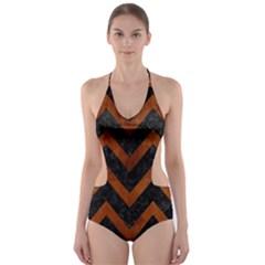 Chevron9 Black Marble & Brown Burl Wood Cut Out One Piece Swimsuit