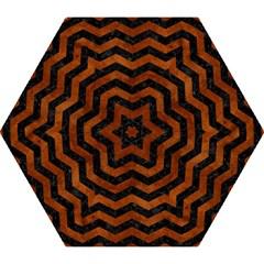 Chevron3 Black Marble & Brown Burl Wood Mini Folding Umbrella by trendistuff