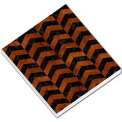 Chevron2 Black Marble & Brown Burl Wood Small Memo Pads by trendistuff