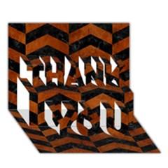Chevron2 Black Marble & Brown Burl Wood Thank You 3d Greeting Card (7x5) by trendistuff