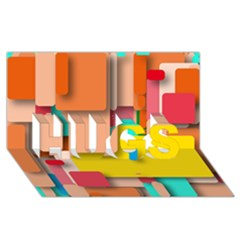 Rounded Rectangles HUGS 3D Greeting Card (8x4)  by hennigdesign