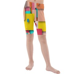 Rounded Rectangles Kid s Mid Length Swim Shorts by hennigdesign