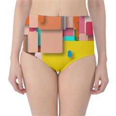 Rounded Rectangles High Waist Bikini Bottoms by hennigdesign