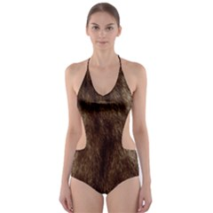 Silber Tiger Fur Cut-Out One Piece Swimsuit