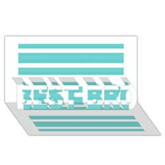 Teal Adn White Stripe Designs Best Bro 3d Greeting Card (8x4)  by timelessartoncanvas