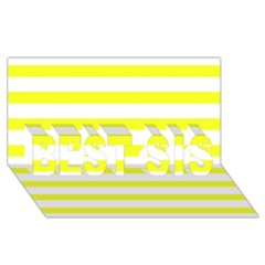 Bright Yellow and White Stripes BEST SIS 3D Greeting Card (8x4)  by timelessartoncanvas