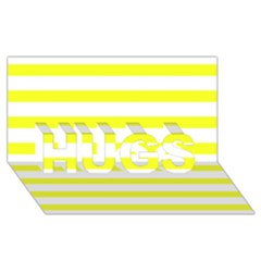 Bright Yellow and White Stripes HUGS 3D Greeting Card (8x4)  by timelessartoncanvas