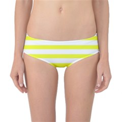 Bright Yellow And White Stripes Classic Bikini Bottoms by timelessartoncanvas