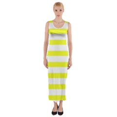 Bright Yellow And White Stripes Fitted Maxi Dress by timelessartoncanvas